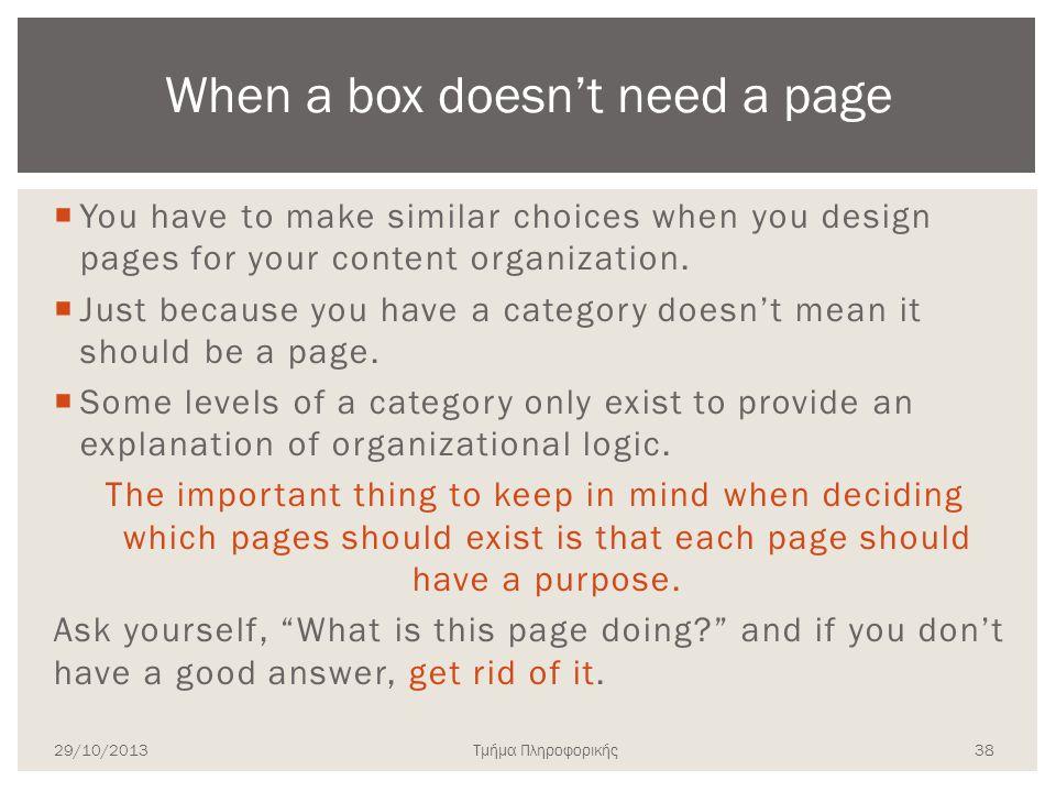 Τμήμα Πληροφορικής  You have to make similar choices when you design pages for your content organization.  Just because you have a category doesn't
