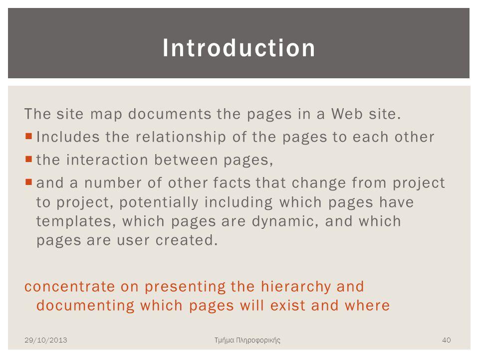 Τμήμα Πληροφορικής Introduction The site map documents the pages in a Web site.  Includes the relationship of the pages to each other  the interacti