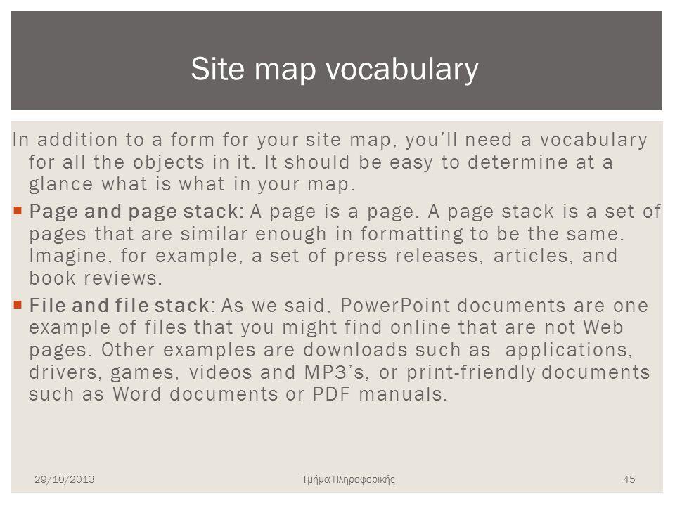 Τμήμα Πληροφορικής In addition to a form for your site map, you'll need a vocabulary for all the objects in it. It should be easy to determine at a gl