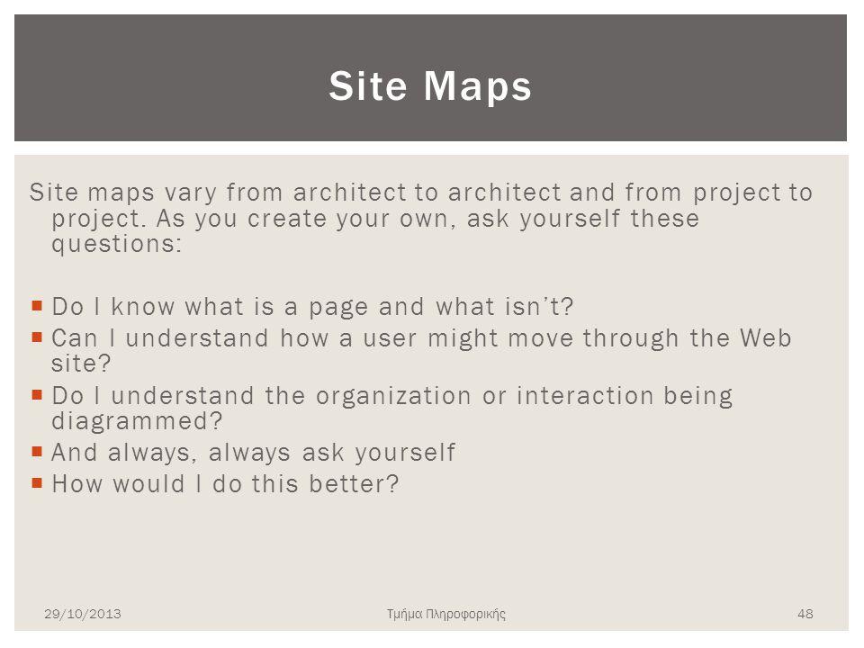 Τμήμα Πληροφορικής Site Maps Site maps vary from architect to architect and from project to project. As you create your own, ask yourself these questi
