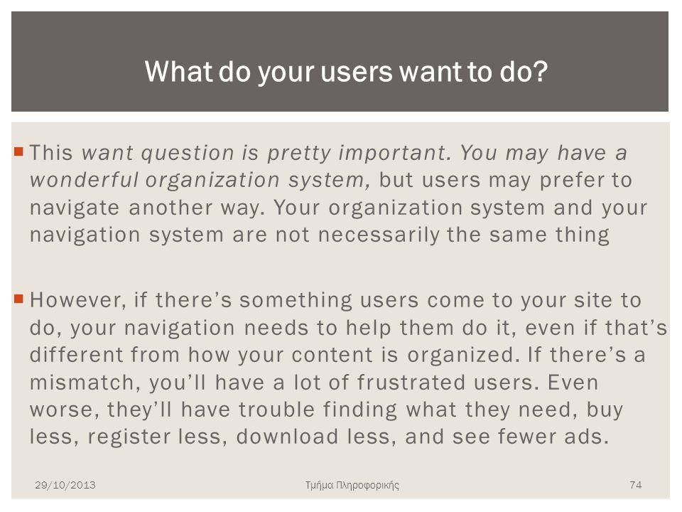Τμήμα Πληροφορικής  This want question is pretty important. You may have a wonderful organization system, but users may prefer to navigate another wa