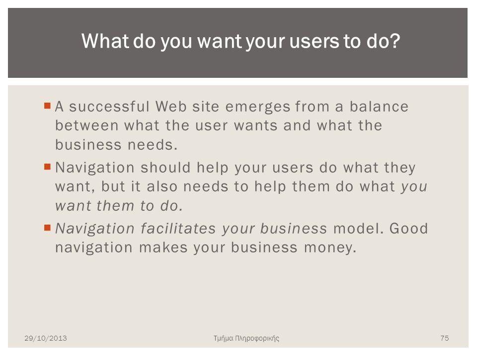 Τμήμα Πληροφορικής  A successful Web site emerges from a balance between what the user wants and what the business needs.  Navigation should help yo