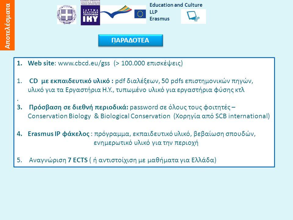 1.Web site: www.cbcd.eu/gss (> 100.000 επισκέψεις) 1.