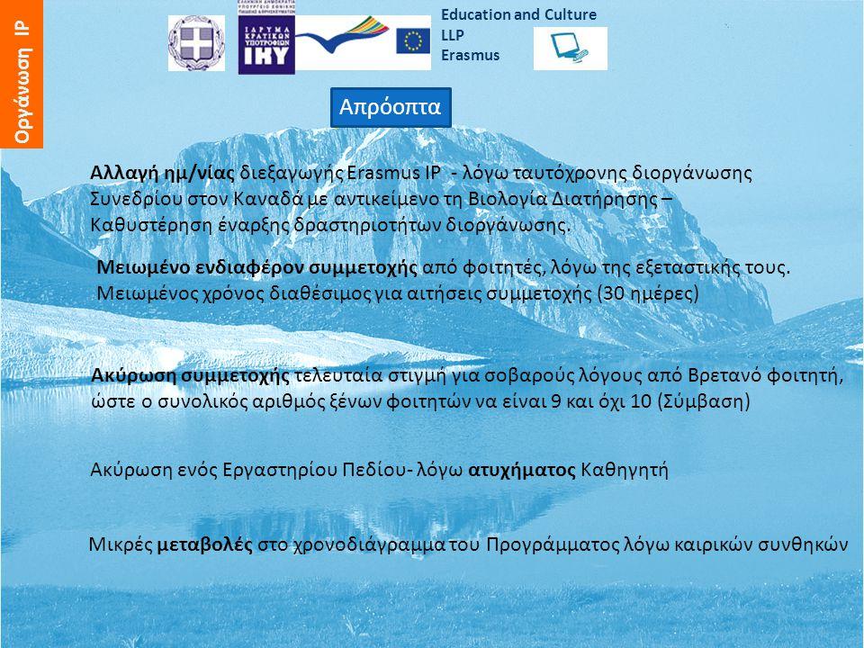 Εducation and Culture LLP Erasmus Οργάνωση IP Απρόοπτα Αλλαγή ημ/νίας διεξαγωγής Erasmus IP - λόγω ταυτόχρονης διοργάνωσης Συνεδρίου στον Καναδά με αντικείμενο τη Βιολογία Διατήρησης – Καθυστέρηση έναρξης δραστηριοτήτων διοργάνωσης.