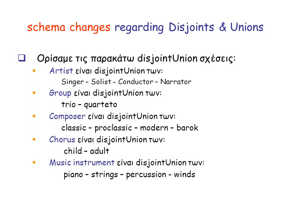 schema changes regarding Disjoints & Unions  Ορίσαμε τις παρακάτω disjointUnion σχέσεις:  Artist είναι disjointUnion των: Singer – Solist - Conductor – Narrator  Group είναι disjointUnion των: trio – quarteto  Composer είναι disjointUnion των: classic – proclassic – modern – barok  Chorus είναι disjointUnion των: child – adult  Music instrument είναι disjointUnion των: piano – strings – percussion - winds