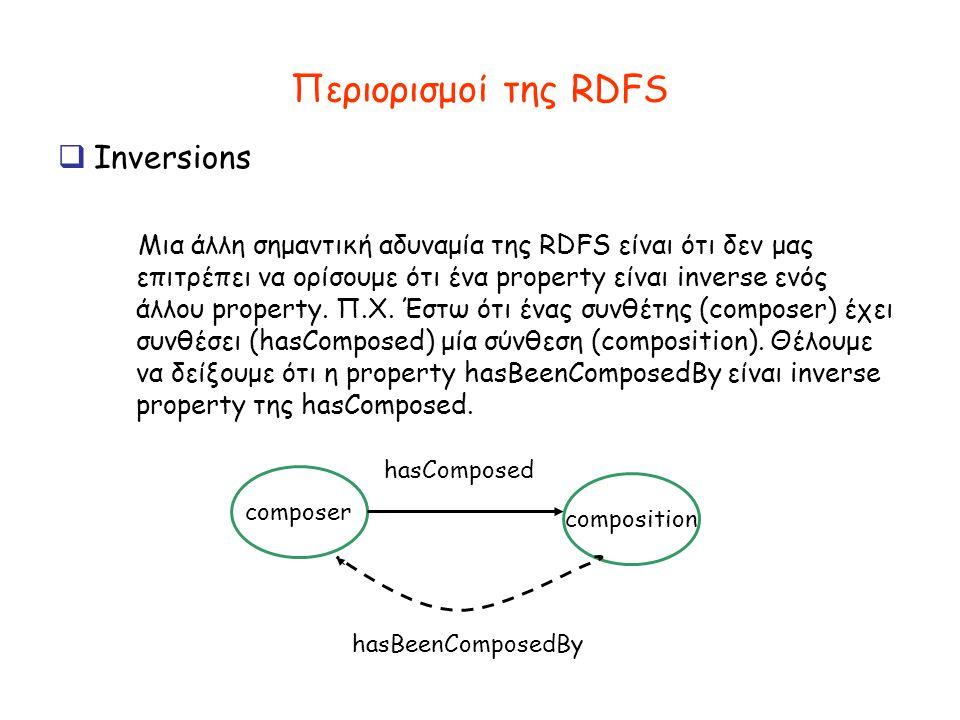 Περιορισμοί της RDFS  Inversions Μια άλλη σημαντική αδυναμία της RDFS είναι ότι δεν μας επιτρέπει να ορίσουμε ότι ένα property είναι inverse ενός άλλου property.