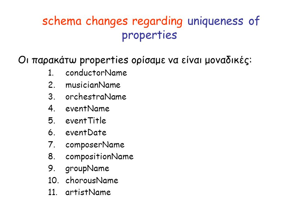schema changes regarding uniqueness of properties Οι παρακάτω properties ορίσαμε να είναι μοναδικές: 1. conductorName 2. musicianName 3. orchestraName
