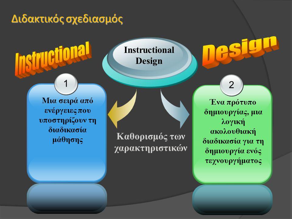 Διδακτικός σχεδιασμός 1 Μια σειρά από ενέργειες που υποστηρίζουν τη διαδικασία μάθησης 2 Ένα πρότυπο δημιουργίας, μια λογική ακολουθιακή διαδικασία γι