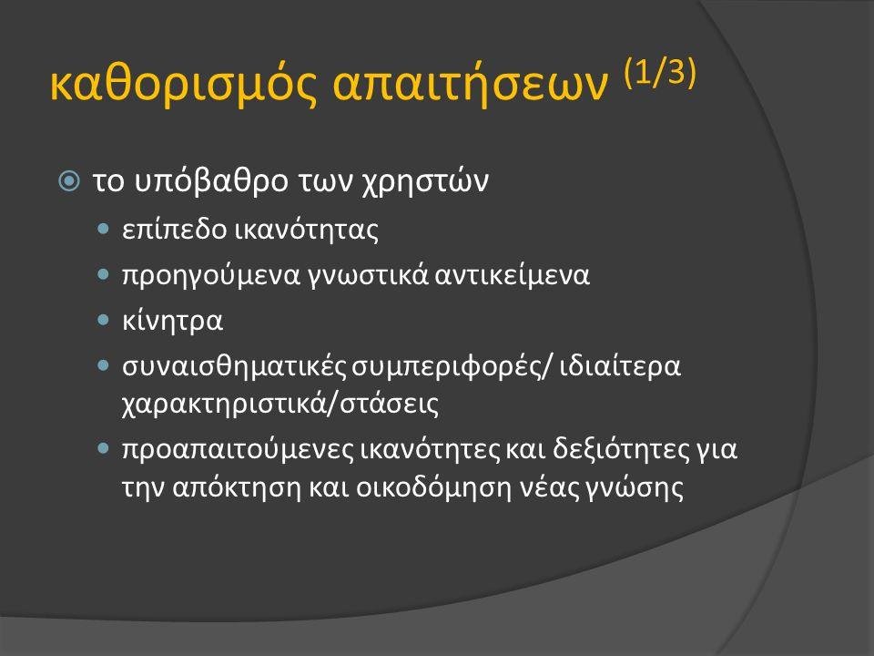 καθορισμός απαιτήσεων (1/3)  το υπόβαθρο των χρηστών επίπεδο ικανότητας προηγούμενα γνωστικά αντικείμενα κίνητρα συναισθηματικές συμπεριφορές/ ιδιαίτ