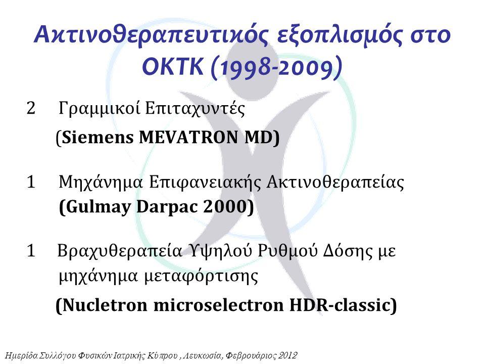 2Γραμμικοί Επιταχυντές (Siemens MEVATRON MD) 1Μηχάνημα Επιφανειακής Ακτινοθεραπείας (Gulmay Darpac 2000) 1 Βραχυθεραπεία Υψηλού Ρυθμού Δόσης με μηχάνη