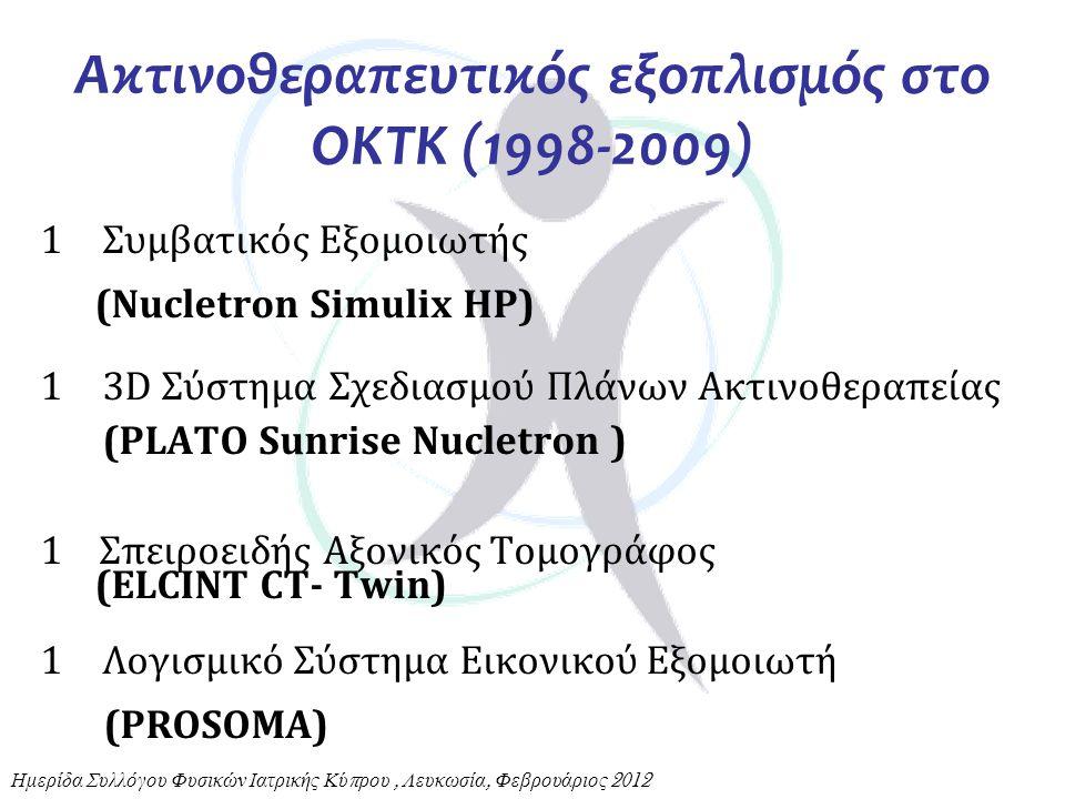Ακτινοθεραπευτικός εξοπλισμός στο ΟΚΤΚ (1998-2009) 1Συμβατικός Εξομοιωτής (Nucletron Simulix HP) 13D Σύστημα Σχεδιασμού Πλάνων Ακτινοθεραπείας (PLATO
