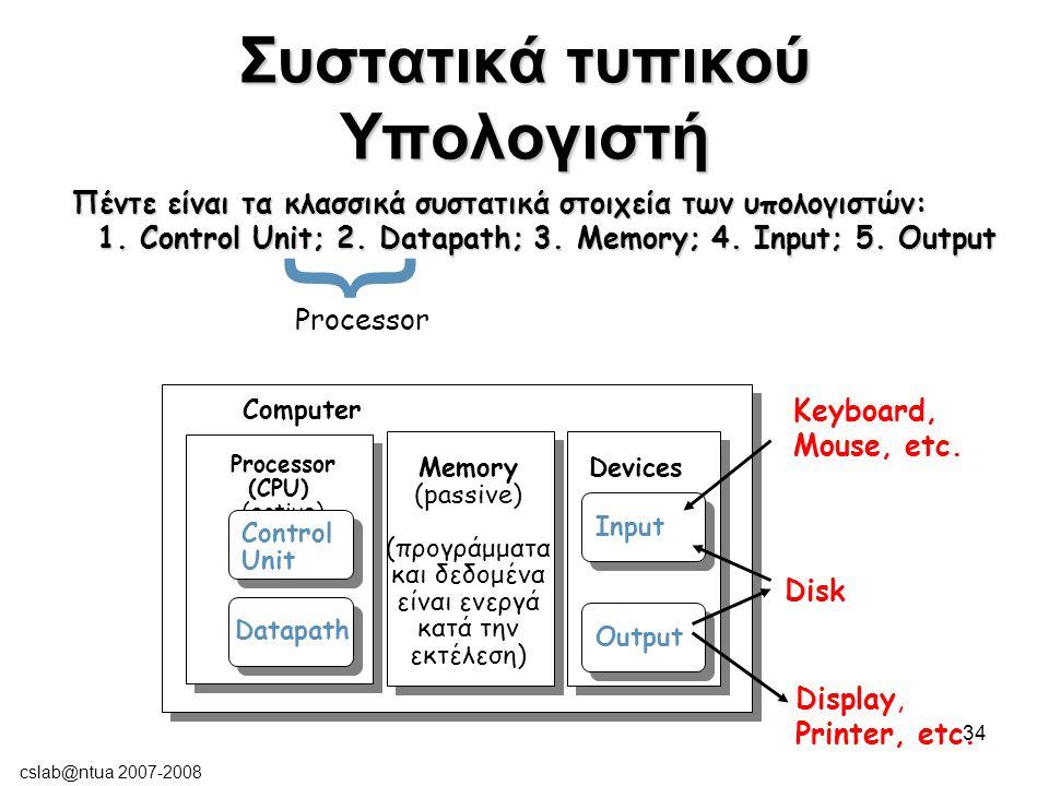 cslab@ntua 2007-2008 34 Συστατικά τυπικού Υπολογιστή Processor (CPU) (active) Computer Control Unit Datapath Memory (passive) (προγράμματα και δεδομένα είναι ενεργά κατά την εκτέλεση) Devices Input Output Keyboard, Mouse, etc.