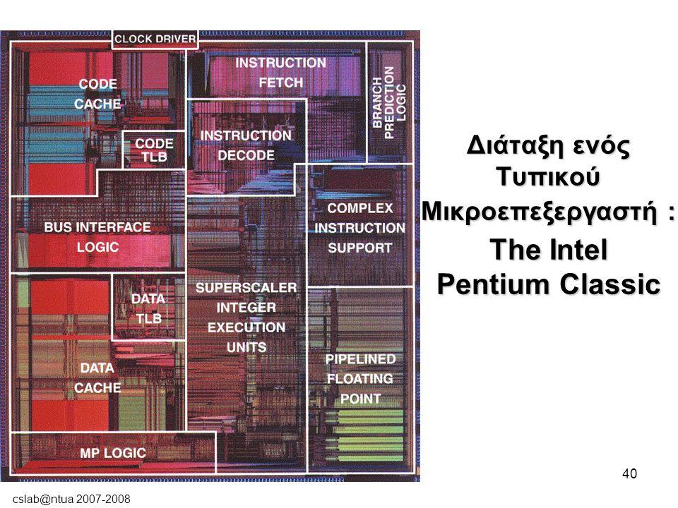 cslab@ntua 2007-2008 40 Διάταξη ενός Τυπικού Μικροεπεξεργαστή : The Intel Pentium Classic