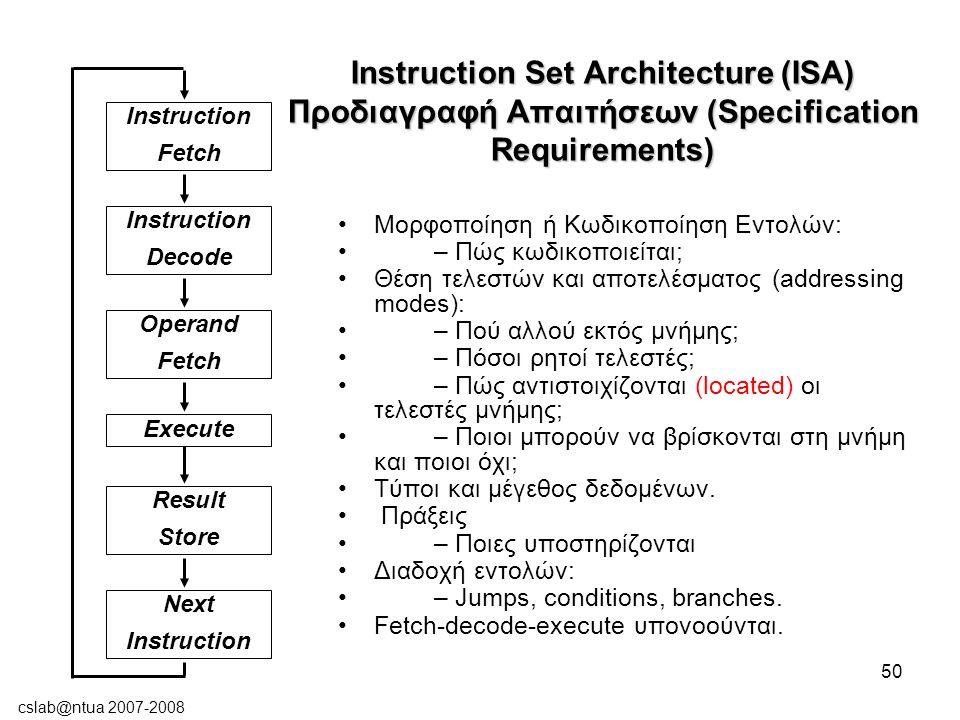 cslab@ntua 2007-2008 50 Instruction Set Architecture (ISA) Προδιαγραφή Απαιτήσεων (Specification Requirements) Μορφοποίηση ή Κωδικοποίηση Εντολών: – Πώς κωδικοποιείται; Θέση τελεστών και αποτελέσματος (addressing modes): – Πού αλλού εκτός μνήμης; – Πόσοι ρητοί τελεστές; – Πώς αντιστοιχίζονται (located) οι τελεστές μνήμης; – Ποιοι μπορούν να βρίσκονται στη μνήμη και ποιοι όχι; Τύποι και μέγεθος δεδομένων.