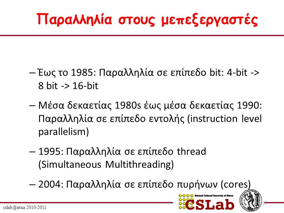 – Έως το 1985: Παραλληλία σε επίπεδο bit: 4-bit -> 8 bit -> 16-bit – Μέσα δεκαετίας 1980s έως μέσα δεκαετίας 1990: Παραλληλία σε επίπεδο εντολής (instruction level parallelism) – 1995: Παραλληλία σε επίπεδο thread (Simultaneous Multithreading) – 2004: Παραλληλία σε επίπεδο πυρήνων (cores) cslab@ntua 2010-2011 23 Παραλληλία στους μεπεξεργαστές