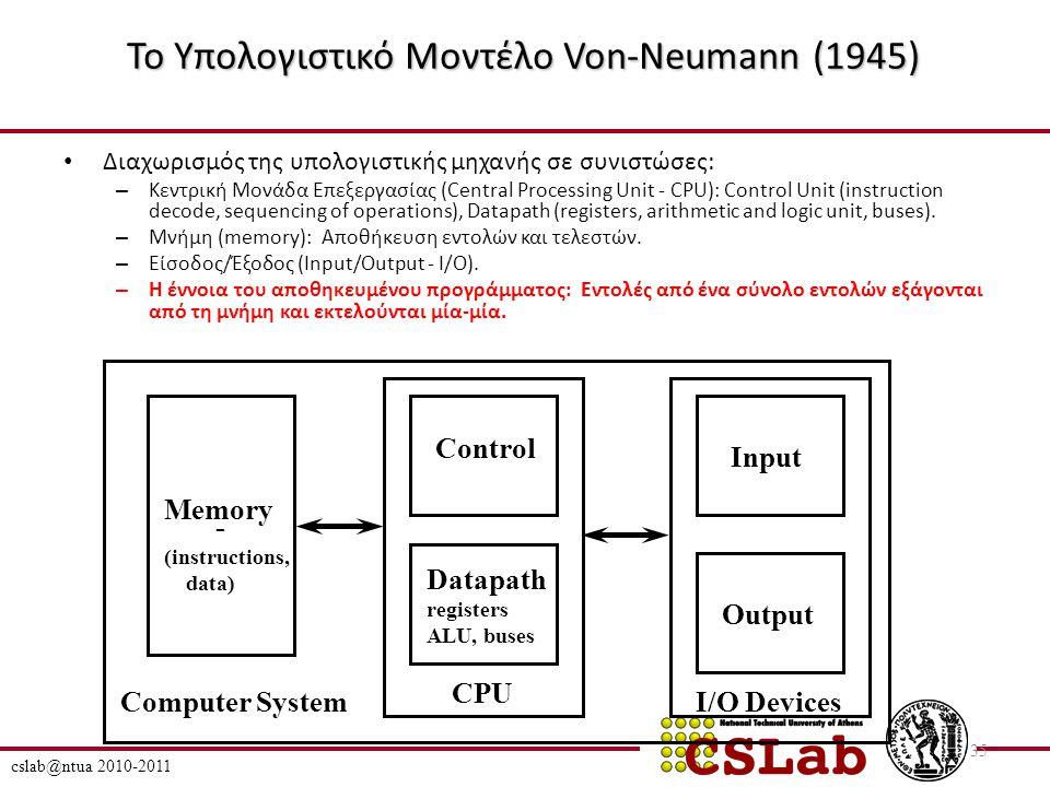 Το Υπολογιστικό Μοντέλο Von-Neumann (1945) Διαχωρισμός της υπολογιστικής μηχανής σε συνιστώσες: – Κεντρική Μονάδα Επεξεργασίας (Central Processing Unit - CPU): Control Unit (instruction decode, sequencing of operations), Datapath (registers, arithmetic and logic unit, buses).