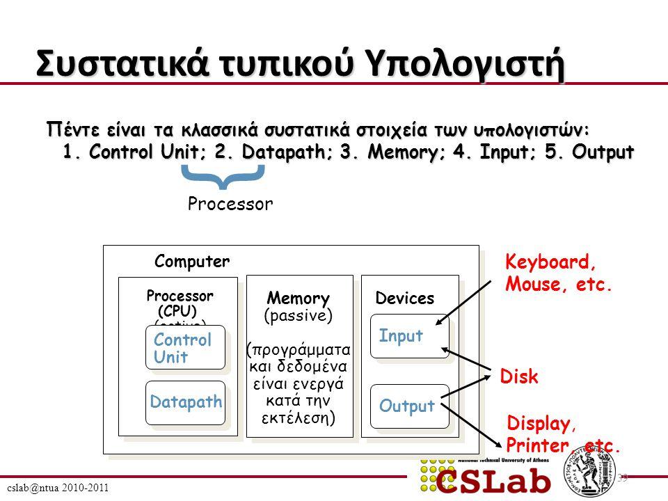 cslab@ntua 2010-2011 39 Συστατικά τυπικού Υπολογιστή Processor (CPU) (active) Computer Control Unit Datapath Memory (passive) (προγράμματα και δεδομένα είναι ενεργά κατά την εκτέλεση) Devices Input Output Keyboard, Mouse, etc.