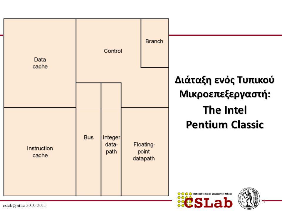 cslab@ntua 2010-2011 44 Διάταξη ενός Τυπικού Μικροεπεξεργαστή: The Intel Pentium Classic