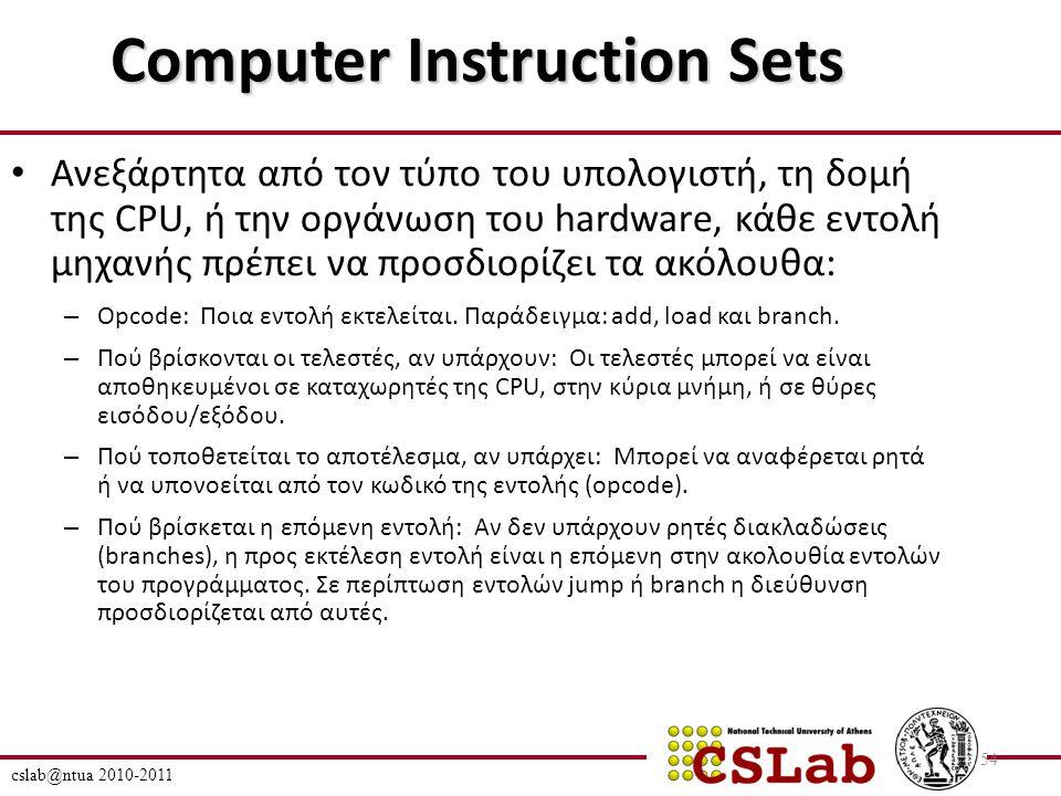 cslab@ntua 2010-2011 54 Computer Instruction Sets Ανεξάρτητα από τον τύπο του υπολογιστή, τη δομή της CPU, ή την οργάνωση του hardware, κάθε εντολή μηχανής πρέπει να προσδιορίζει τα ακόλουθα: – Opcode: Ποια εντολή εκτελείται.