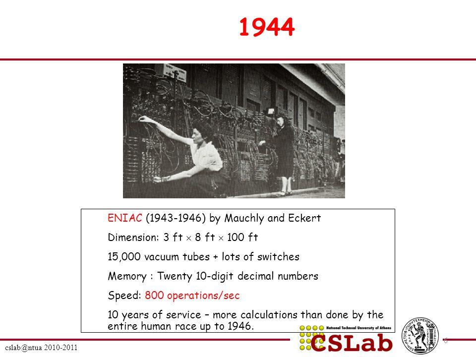 cslab@ntua 2010-2011 57 Παραδείγματα Εντολών μετακίνησης δεδομένων Instruction Meaning Machine MOV A,B Move 16-bit data from memory loc.