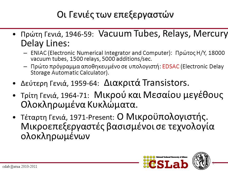 Οι Γενιές των επεξεργαστών 1971: Intel 4004, 2,3K transistors 12 mm 2 (clock: 740 KHz, 92K ops, 10μm) 1978: Intel 8086, 30K transistors, 33 mm 2 1984: Stanford MIPS, 24K transistors, 34 mm 2 (Berkeley RISC II: 41K, 60mm 2 ) 1996: Pentium Pro, 5,5M transistors, 306mm 2 (11/2007): Penryn (core2 duo μarch) quad core: ~820M transistors/die (214 mm², 45nm).