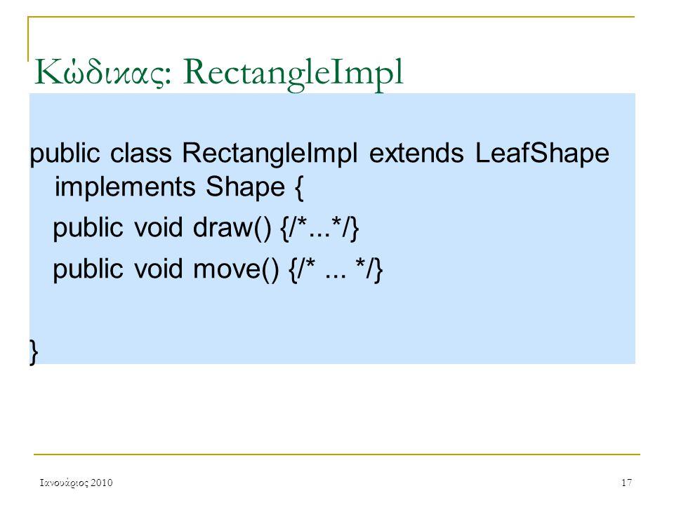 Ιανουάριος 201017 Κώδικας: RectangleImpl public class RectangleImpl extends LeafShape implements Shape { public void draw() {/*...*/} public void move() {/*...