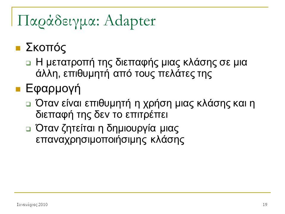 Ιανουάριος 201019 Παράδειγμα: Adapter Σκοπός  Η μετατροπή της διεπαφής μιας κλάσης σε μια άλλη, επιθυμητή από τους πελάτες της Εφαρμογή  Όταν είναι επιθυμητή η χρήση μιας κλάσης και η διεπαφή της δεν το επιτρέπει  Όταν ζητείται η δημιουργία μιας επαναχρησιμοποιήσιμης κλάσης