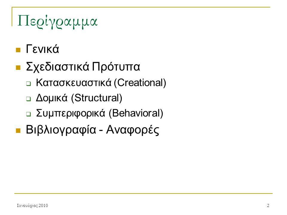 Ιανουάριος 20102 Περίγραμμα Γενικά Σχεδιαστικά Πρότυπα  Κατασκευαστικά (Creational)  Δομικά (Structural)  Συμπεριφορικά (Behavioral) Βιβλιογραφία - Αναφορές