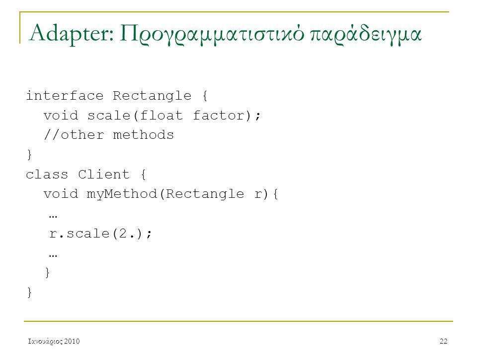 Ιανουάριος 201022 Adapter: Προγραμματιστικό παράδειγμα interface Rectangle { void scale(float factor); //other methods } class Client { void myMethod(Rectangle r){ … r.scale(2.); … }