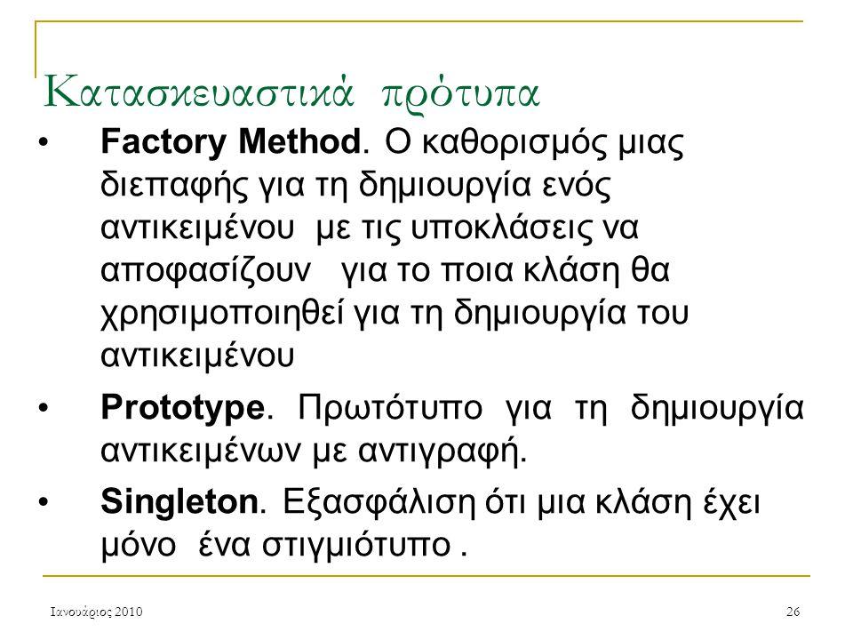 Ιανουάριος 201026 Κατασκευαστικά πρότυπα Factory Method.