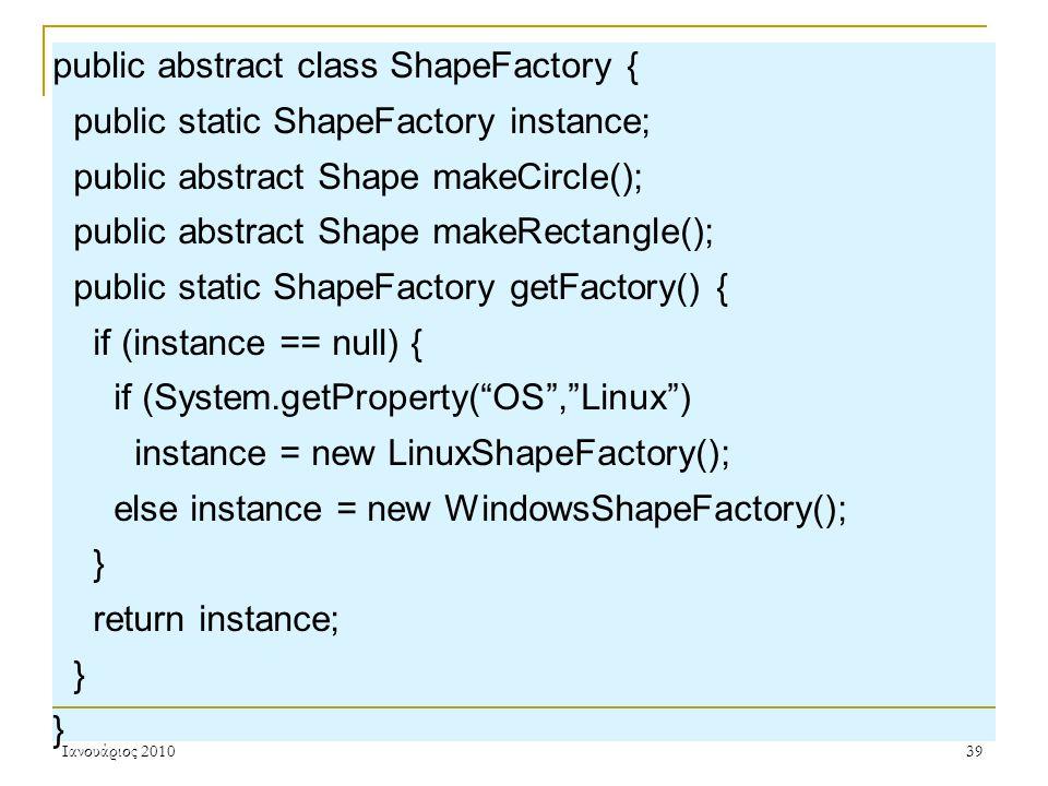 Ιανουάριος 201039 public abstract class ShapeFactory { public static ShapeFactory instance; public abstract Shape makeCircle(); public abstract Shape makeRectangle(); public static ShapeFactory getFactory() { if (instance == null) { if (System.getProperty( OS , Linux ) instance = new LinuxShapeFactory(); else instance = new WindowsShapeFactory(); } return instance; }