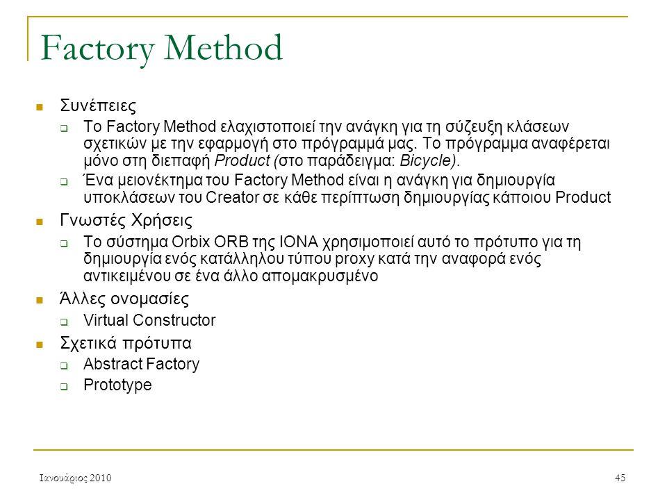 Ιανουάριος 201045 Factory Method Συνέπειες  To Factory Method ελαχιστοποιεί την ανάγκη για τη σύζευξη κλάσεων σχετικών με την εφαρμογή στο πρόγραμμά μας.