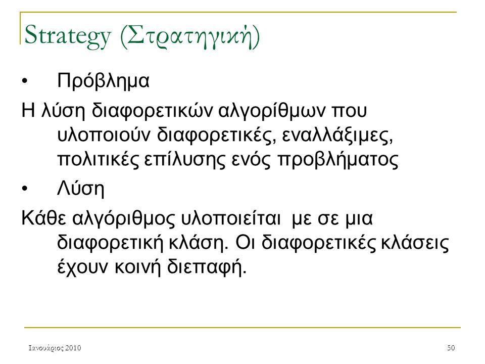 Ιανουάριος 201050 Strategy (Στρατηγική) Πρόβλημα Η λύση διαφορετικών αλγορίθμων που υλοποιούν διαφορετικές, εναλλάξιμες, πολιτικές επίλυσης ενός προβλήματος Λύση Κάθε αλγόριθμος υλοποιείται με σε μια διαφορετική κλάση.