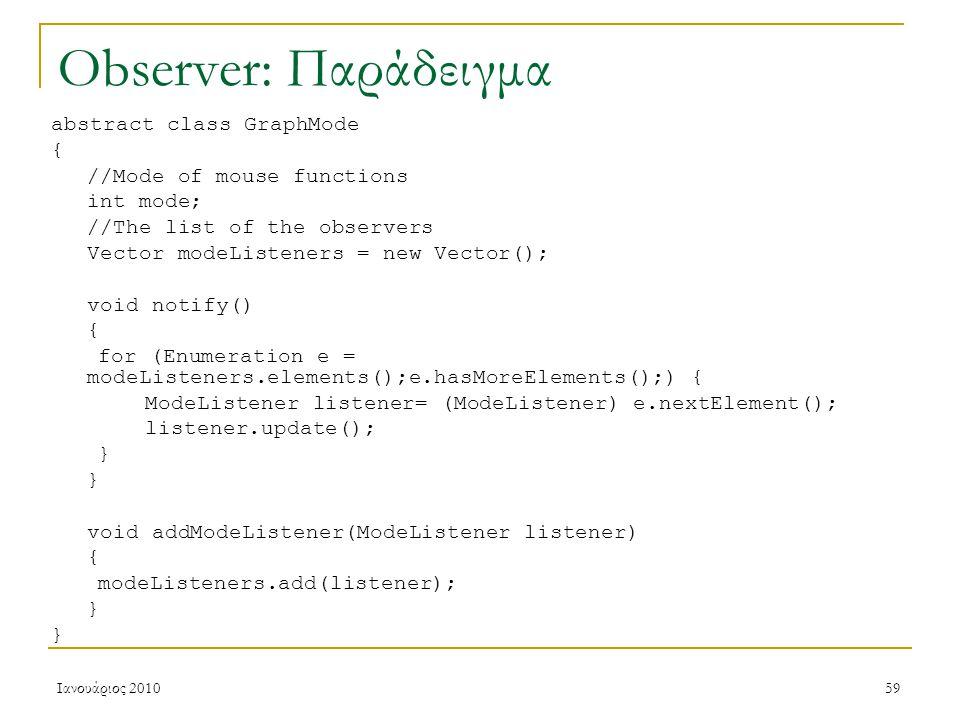 Ιανουάριος 201059 Observer: Παράδειγμα abstract class GraphMode { //Mode of mouse functions int mode; //The list of the observers Vector modeListeners = new Vector(); void notify() { for (Enumeration e = modeListeners.elements();e.hasMoreElements();) { ModeListener listener= (ModeListener) e.nextElement(); listener.update(); } void addModeListener(ModeListener listener) { modeListeners.add(listener); }