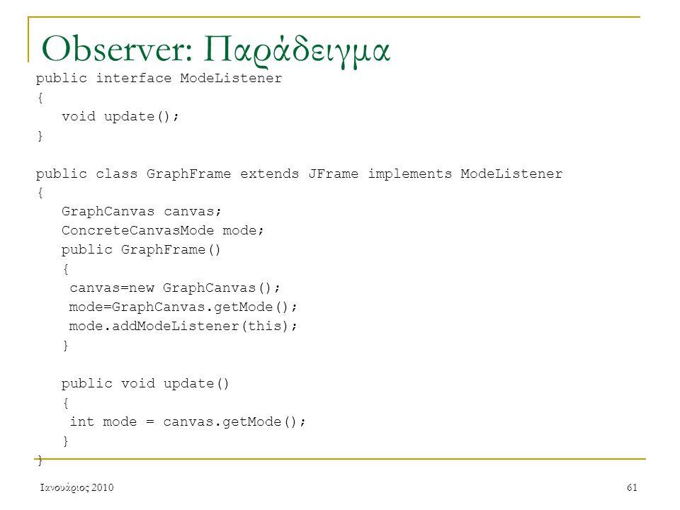 Ιανουάριος 201061 Observer: Παράδειγμα public interface ModeListener { void update(); } public class GraphFrame extends JFrame implements ModeListener { GraphCanvas canvas; ConcreteCanvasMode mode; public GraphFrame() { canvas=new GraphCanvas(); mode=GraphCanvas.getMode(); mode.addModeListener(this); } public void update() { int mode = canvas.getMode(); }