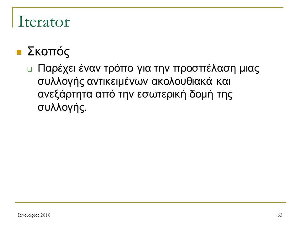 Ιανουάριος 201063 Iterator Σκοπός  Παρέχει έναν τρόπο για την προσπέλαση μιας συλλογής αντικειμένων ακολουθιακά και ανεξάρτητα από την εσωτερική δομή της συλλογής.