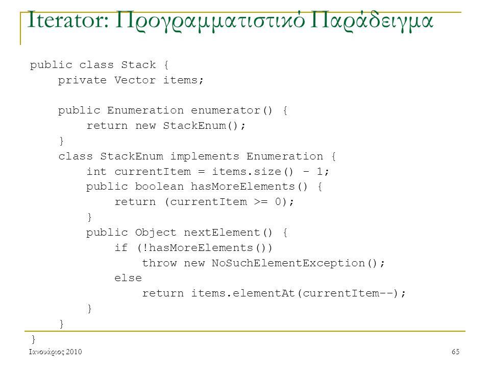 Ιανουάριος 201065 Iterator: Προγραμματιστικό Παράδειγμα public class Stack { private Vector items; public Enumeration enumerator() { return new StackEnum(); } class StackEnum implements Enumeration { int currentItem = items.size() - 1; public boolean hasMoreElements() { return (currentItem >= 0); } public Object nextElement() { if (!hasMoreElements()) throw new NoSuchElementException(); else return items.elementAt(currentItem--); }