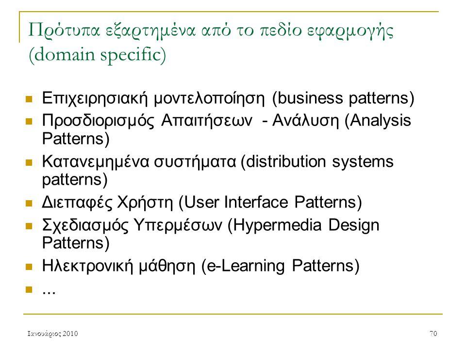 Ιανουάριος 201070 Πρότυπα εξαρτημένα από το πεδίο εφαρμογής (domain specific) Επιχειρησιακή μοντελοποίηση (business patterns) Προσδιορισμός Απαιτήσεων - Ανάλυση (Analysis Patterns) Κατανεμημένα συστήματα (distribution systems patterns) Διεπαφές Χρήστη (User Interface Patterns) Σχεδιασμός Υπερμέσων (Hypermedia Design Patterns) Ηλεκτρονική μάθηση (e-Learning Patterns)...
