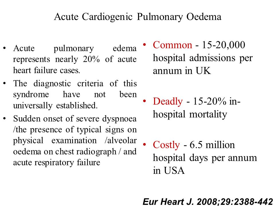 Acute pulmonary edema represents nearly 20% of acute heart failure cases. The diagnostic criteria of this syndrome have not been universally establish