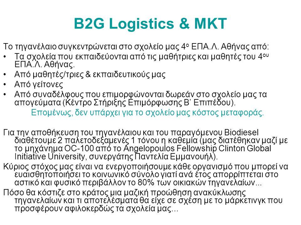 B2G Logistics & ΜΚΤ Το τηγανέλαιο συγκεντρώνεται στο σχολείο μας 4 ο ΕΠΑ.Λ.