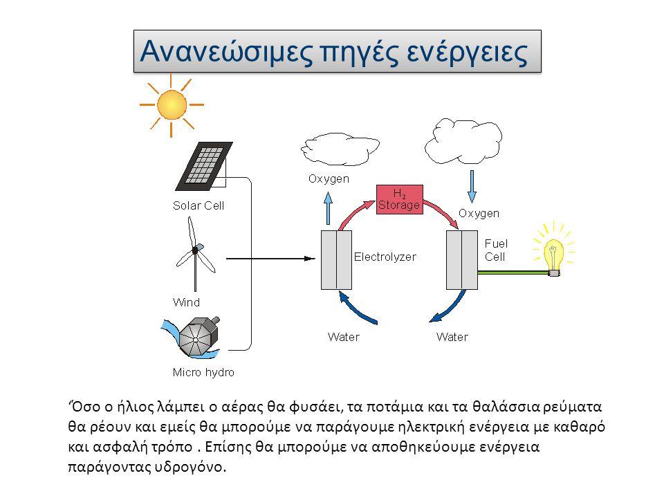 Ανανεώσιμες πηγές ενέργειες 'Όσο ο ήλιος λάμπει ο αέρας θα φυσάει, τα ποτάμια και τα θαλάσσια ρεύματα θα ρέουν και εμείς θα μπορούμε να παράγουμε ηλεκτρική ενέργεια με καθαρό και ασφαλή τρόπο.