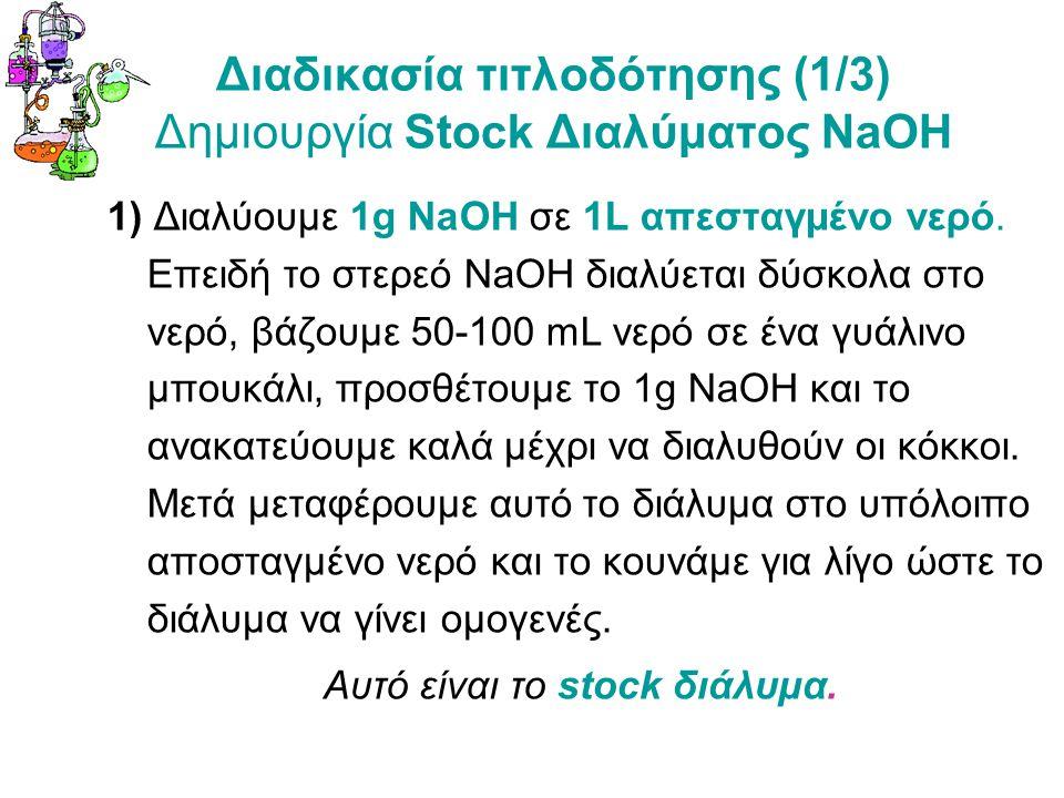 Διαδικασία τιτλοδότησης (1/3) Δημιουργία Stock Διαλύματος NaOH 1) Διαλύουμε 1g NaOH σε 1L απεσταγμένο νερό.