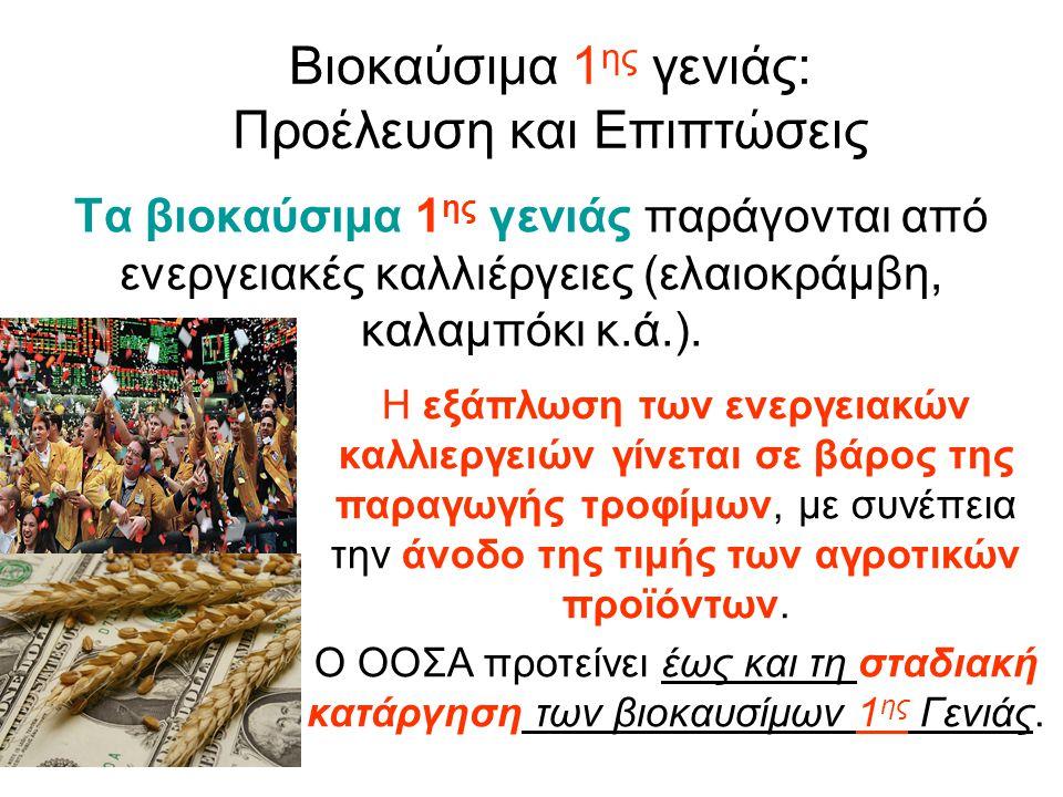 Βιοκαύσιμα 1 ης γενιάς: Προέλευση και Επιπτώσεις Τα βιοκαύσιμα 1 ης γενιάς παράγονται από ενεργειακές καλλιέργειες (ελαιοκράμβη, καλαμπόκι κ.ά.).