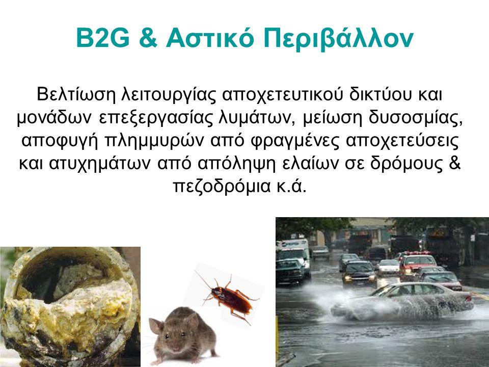 B2G & Αστικό Περιβάλλον Βελτίωση λειτουργίας αποχετευτικού δικτύου και μονάδων επεξεργασίας λυμάτων, μείωση δυσοσμίας, αποφυγή πλημμυρών από φραγμένες αποχετεύσεις και ατυχημάτων από απόληψη ελαίων σε δρόμους & πεζοδρόμια κ.ά.