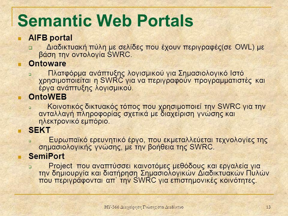 ΗΥ-566 Διαχείρηση Γνώσης στο Διαδίκτυο 13 Semantic Web Portals AIFB portal  Διαδικτυακή πύλη με σελίδες που έχουν περιγραφές(σε OWL) με βάση την οντολογία SWRC.