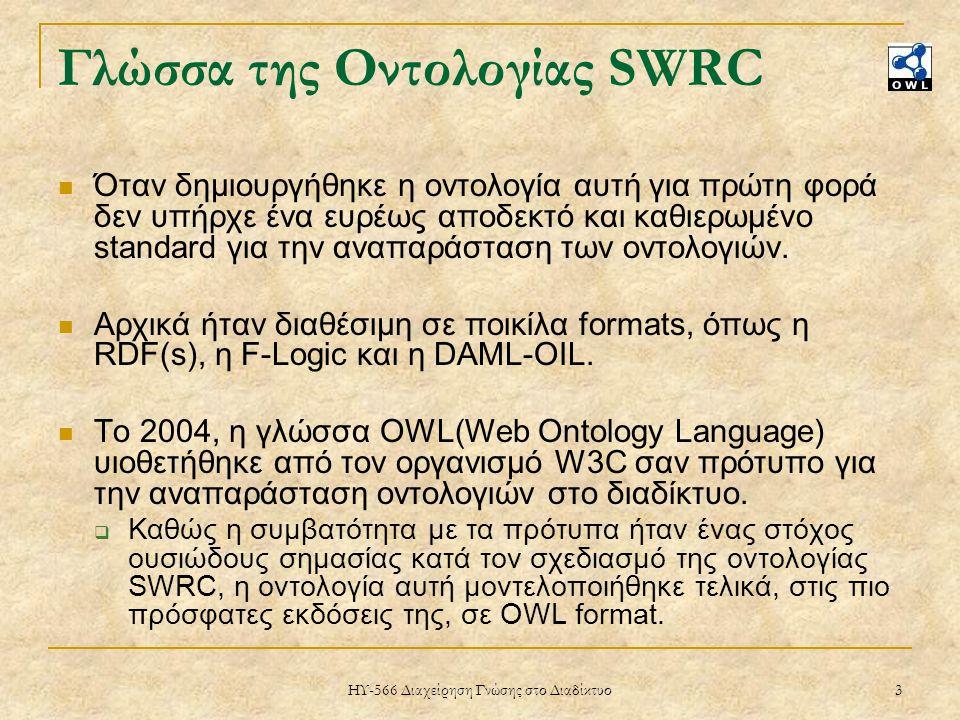 ΗΥ-566 Διαχείρηση Γνώσης στο Διαδίκτυο 3 Γλώσσα της Οντολογίας SWRC Όταν δημιουργήθηκε η οντολογία αυτή για πρώτη φορά δεν υπήρχε ένα ευρέως αποδεκτό και καθιερωμένο standard για την αναπαράσταση των οντολογιών.