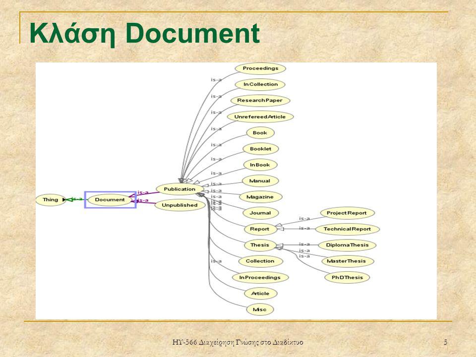 ΗΥ-566 Διαχείρηση Γνώσης στο Διαδίκτυο 5 Κλάση Document