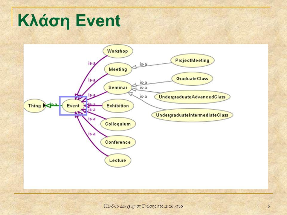 ΗΥ-566 Διαχείρηση Γνώσης στο Διαδίκτυο 6 Κλάση Event