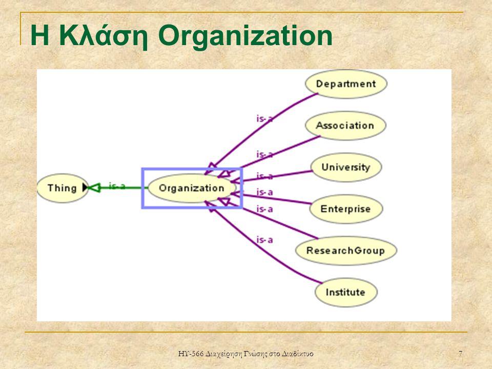 ΗΥ-566 Διαχείρηση Γνώσης στο Διαδίκτυο 7 H Κλάση Organization