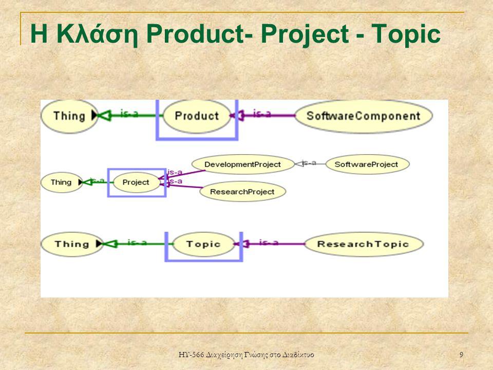 ΗΥ-566 Διαχείρηση Γνώσης στο Διαδίκτυο 9 Η Κλάση Product- Project - Topic